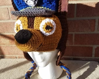 Paw Patrol Hat Chase Inspired Paw Patrol Hat, Crochet Paw Patrol Hat, Ready to ship
