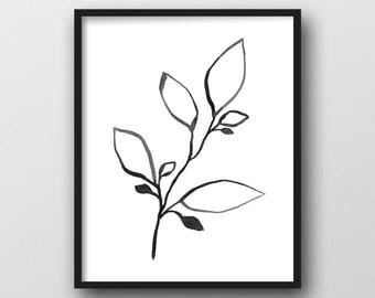 Botanical Print, Plant Print, Printable Art, Botanical Art, Line Drawing, Black & White Wall Art, Scandinavian Print, Minimalist Art