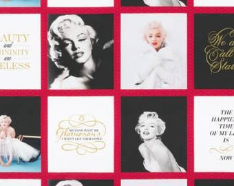 """Lipstick Marilyn Monroe Squares Panel 24"""" from Robert Kaufman Digital Print quilting cotton fabric material by the yard or metre AYO17197121"""