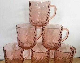 SPRING SALE Set of 6 Pink Glass Mugs / Vintage Arcoroc France Swirl Mugs / Pink Optic Coffee Mugs / Crystal PINK Luminarc Rosaline Pink Glas