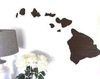 Large Wooden Hawaiian Islands Cut-Out Set, Custom Hawaiian Sign, Up-cycled wooden sign