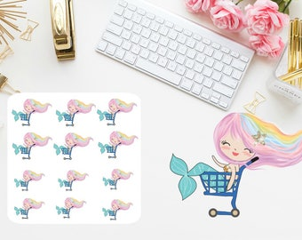 Shopping mermaid Planner stickers