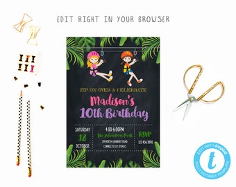 Zip Line Party Tem 2 TRY BEFORE You BUY Instant Download Edit Yourself Invitation