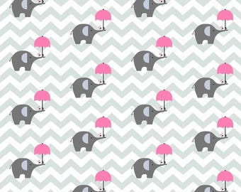 Grey elephant cotton fabric 50 x 160 cm grey chevron baby nursery fabric cotton, patchwork, 100 cotton fabric