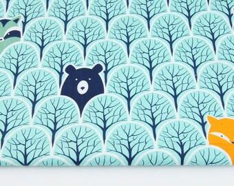 Tissu  100% coton imprimé 50x160 cm, animals in a turquoise forest