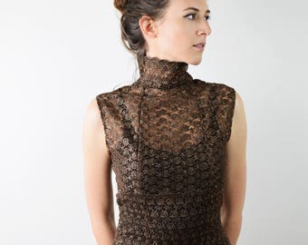 Vintage lace dress, brown long lace dress, elegant evening dress, prom dress, small size dress, see trough dress, special occasion dress