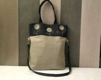 Linen fabric and jeans and shoulder bag