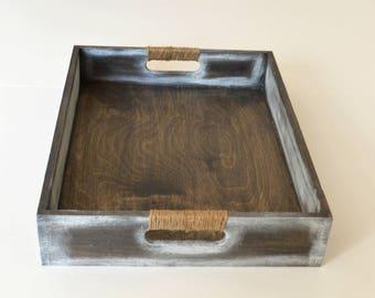 Gray Tray-Large Tray-Tray-Wooden Tray-Breakfast Tray-Wood Serving Tray-Decorative tray-Ottoman Tray-Wooden Serving Tray-Wedding Gift