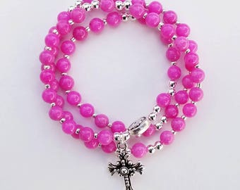 Magenta Mountain Jade Stretch Rosary Bracelet