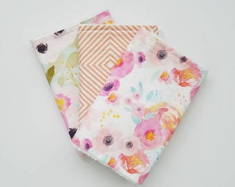 Pink Floral Burp Cloth Set, Watercolor Floral Burp Cloths, Baby Girl Burp Cloths, Floral Burp Cloths, Baby Girl Gift
