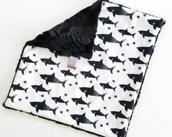 Shark Lovey, Baby Boy lovey, Minky lovey, Baby Boy blanket, Modern Baby, toddler lovey, baby boy minky blanket, Shark blanket, monochromatic