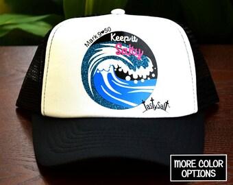 Keep it Salty Cresting Wave Trucker Hat / Christian hat, Christian apparel, women's hat, women's trucker hat, Christian trucker hat, Beach