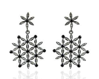 Silver Diamond pave earrings