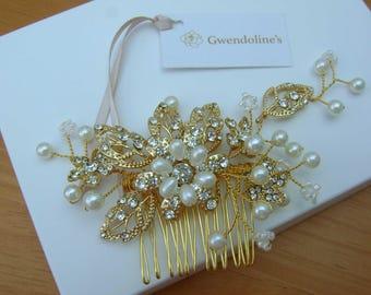 Beautiful Gold Wedding Hair Comb Piece.