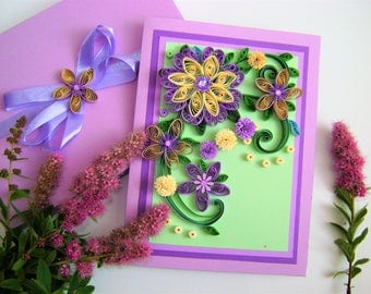 Purple Anniversary Quilling cards,Beautiful handmade quilled card, Quilling 3D greeting cards,Greeting Cards,Purple flowers,Сongratulation