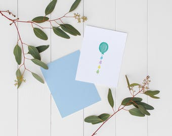 Card • blue balloon