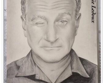 graphite pencil portrait of Robbin Williams