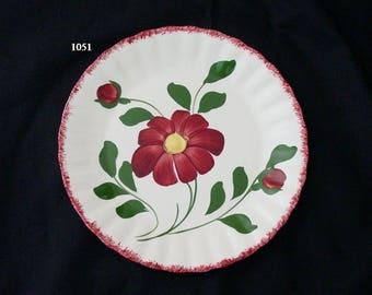 "Blue Ridge RED NOCTURNE 9.25"" Plate Southern Potteries Hand Painted Colonial Red Flowers and Edge (B02) 1051"