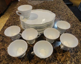 8 Sets of White Milk Glass Snack/Luncheon Sets....Grapevine Pattern