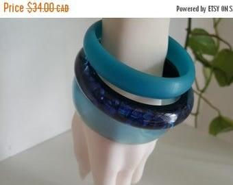Trio of Blue Vintage Lucite Bangle Bracelets