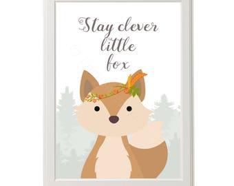 Stay Clever Little Fox Print, Boho Fox Print, Tribal Fox Print, Nursery Fox Print, Fox Nursery Wall Art, Cute Fox Print, Inspirational Quote