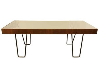 Mid-Century Couch Table with Mirror Surface
