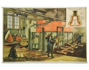"German School, Teaching Chart, Poster ""Bell-Foundry"""