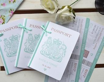 Passport Wedding Invitation with optional RSVP - SAMPLE ONLY