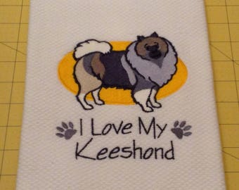I Love My Keeshound Embroidered Williams Sonoma Kitchen Hand Towel 100% cotton, 20 x 30