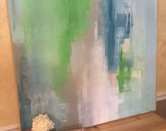 Original abstract acrylic painting with greens, white, blues, and greys