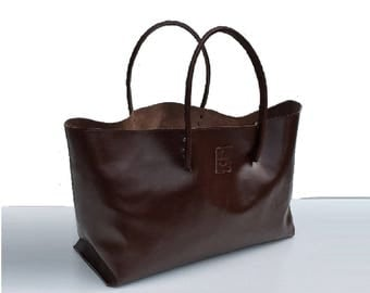 XXL Leather Shopper and more large shopper leather case for wholesale purchase, Brown handmade