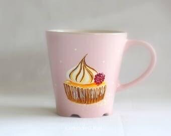 "Grand mug rose poudré ""Tarte au citron meringué"" C.Kim"