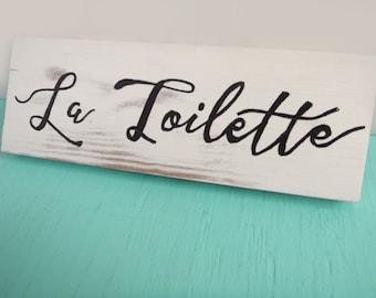 La Toilette sign - Toilette bathroom sign - Bathroom wall decor - Bathroom wall art - Rustic bathroom wall decor - Fixer upper decor