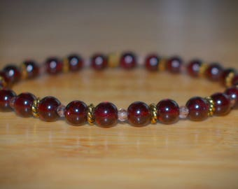 Garnet Gemstone Bracelet- January Birthstone
