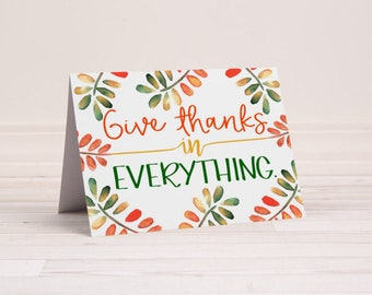 Thanksgiving Note Cards - Autumn or Fall Greeting Cards - 1 Thessalonians 5:18 - Thank You Notes - Greeting Cards - 6 Cards With Envelopes