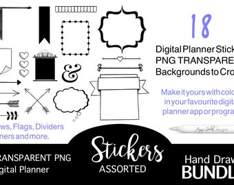 18 Digital Planner Stickers Hand Drawn Assorted