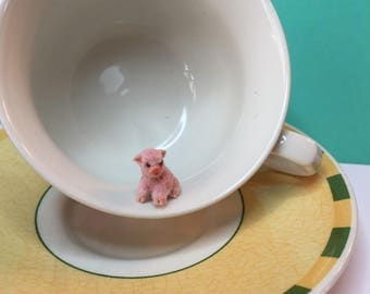 Miniature micro teacup pig ooak unique collectors item 1/24th 1:12th scale