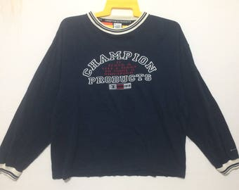 Champion Crewneck Sweatshirt Blue Color Large Size