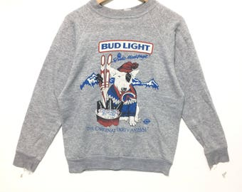 Vintage 80s Bud lights Spuds Mackenzie pullover sweatshirt collectible item