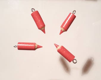 4 small Fuchsia colored pencils glitter 20 mm - polymer clay - fimo - Kit - disco vibe pendant charm - teacher thank you
