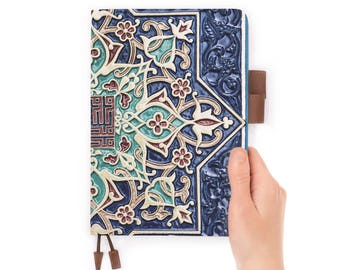personalized leather journal refillable notebook diary A5 leather cover aztec tribal