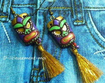 Earrings bronze mask tribal African gold tassel and hand-painted polymer clay