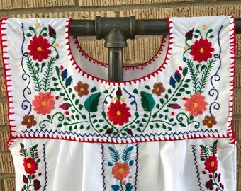 Mexican Blouse, Sleeveless Puebla Blouse, Denim Mexican Blouse