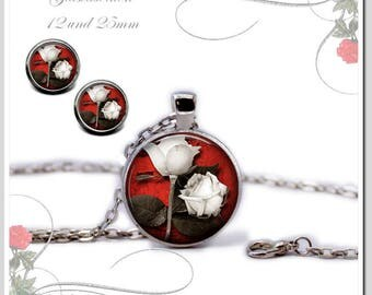 Necklace Earrings White Roses Set-HS25-001