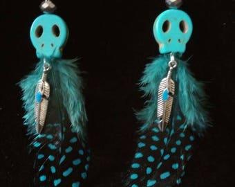 Tribal Skull Feather earrings