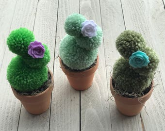 Pompom Cacti, Pompom Cactus with Felt Flower, Cute Spring Decorations