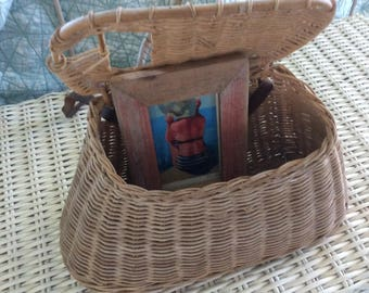 Antique Wicker Fishing Creel, Large Wicker, Canvas and Leather Strap, All Original