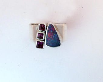 Australian Opal and Pink Tourmaline Ring