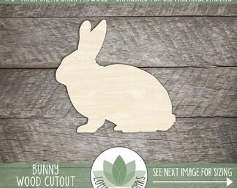 Wood Bunny Shape, Unfinished Wood Bunny Rabbit Laser Cut Shape, DIY Craft Supply, Many Size Options