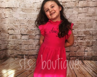 Monogrammed - Girls/ Toddlers Ruffle Dress - Available in Hot Pink & Light Pink
